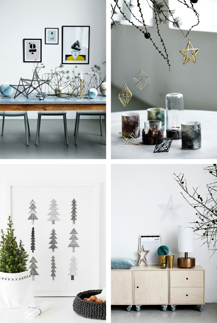 elementos decorativos, decoracion nordica salon, estrellas y pinos de papel y metal, cuadros y mesas bajas