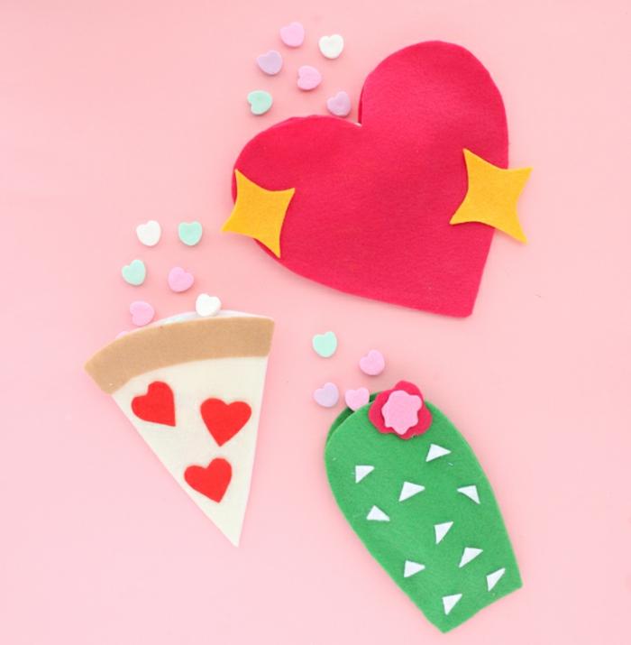 como sorprender a tu pareja en el día de San Valentín, manualidades faciles, manualidades de fieltro en formas divertidas