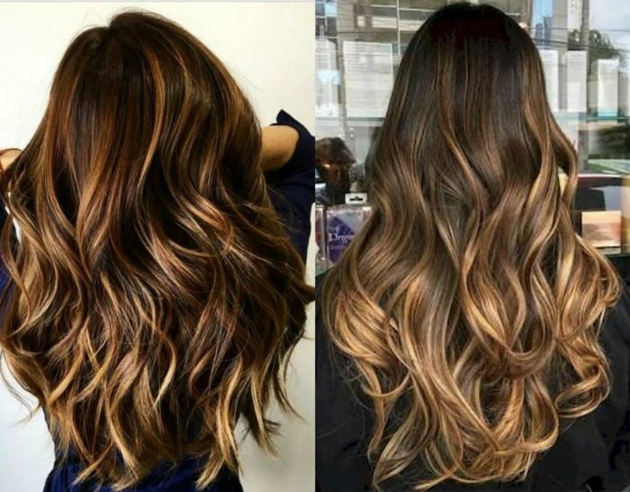 dos propuestas de cabelleras con mechas balayage, raices en castaño oscuro con mechas rubias, pelo muy largo