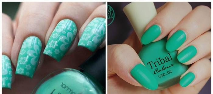 decorar uñas en verde claro, dos ejemplos de uñas largas en forma cuadrada y ovalada, uñas en gel tendencias primavera