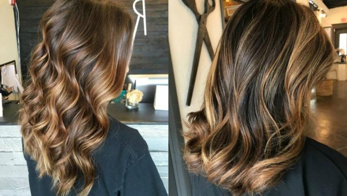 cortes de pelo modernos 2018, dos propuestas con mechas balayage, pelo color castaño con mechones rubios