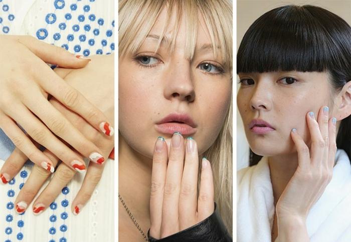 dibujos en uñas interesantes y modernos, tres propuestas en tendencias para 2018, uñas cortas con diferentes ornamentos