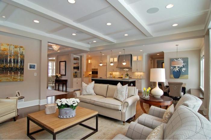 1001 ideas de decorar las cocinas abiertas al sal n - Luces empotradas en el techo ...