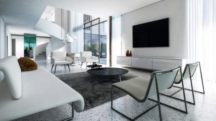 salon moderno con muebles en estilo contemporáneo, decoracion salon en blanco, alfombra peluda en gris