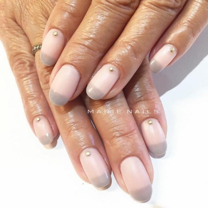 manicura elegante con efecto ombre, dibujos en uñas faciles de hacer, uñas largas ovaladas en rosado y gris