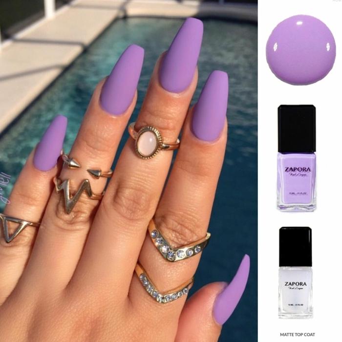 uñas en forma de balerina, dibujos en uñas originales, manicura sencilla muy larga en color lila
