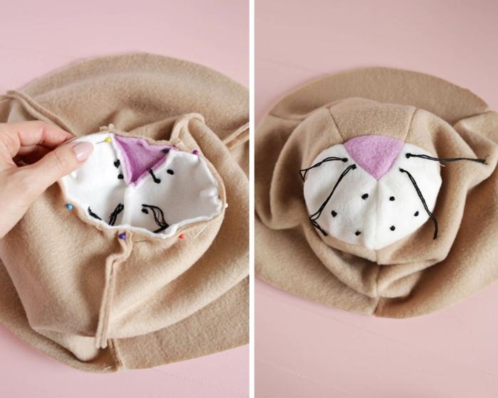 pasos para cocer un elemento decorativo para la pared en forma de cabeza de león, manualidades faciles para vender con tela