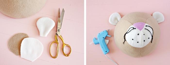 pasos para elaborar una decoracion para la pared DIY, cabeza de leo tridimensional hecha de tela, trozos de tela para las orejas