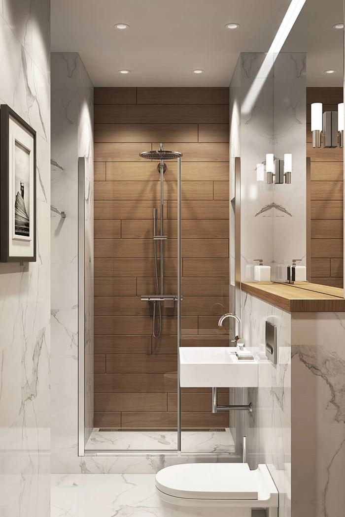 estilo contemporaneo, cuartos de baño pequeños, mini lavabo cuadrado, marmol y madera laminada, ducha con efecto lluvia, espejo grande, foto en blanco y negro