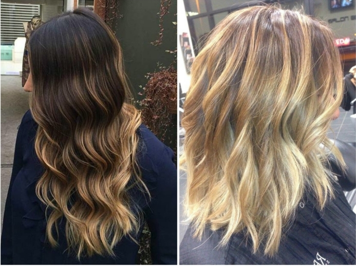 técnicas de hacer mechas en el pelo, cabello rizado en color castañó oscuro con rayitos rubios, shatush y balayage