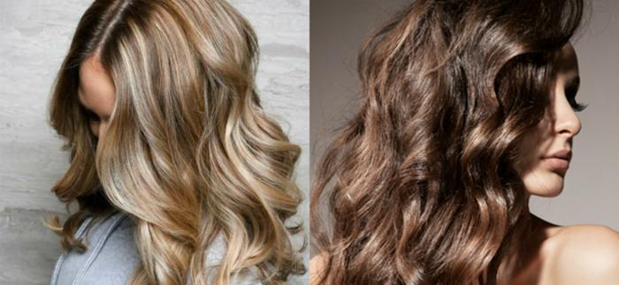 dos propuestas encantadoras, pelo suelto ligeramente ondulado, pelo rubio oscuro y castaño, mechas con shatush delicadas