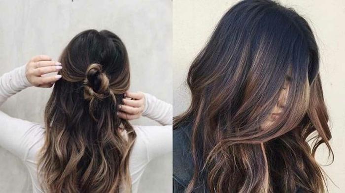 preciosa combinación de colores, cabello castaño oscuro y mechas color avellana, puntas californianas hechas de manera moderna