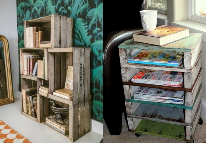 1001 ideas sobre decoraci n con cajas de fruta decoradas - Estanteria cajas madera ...