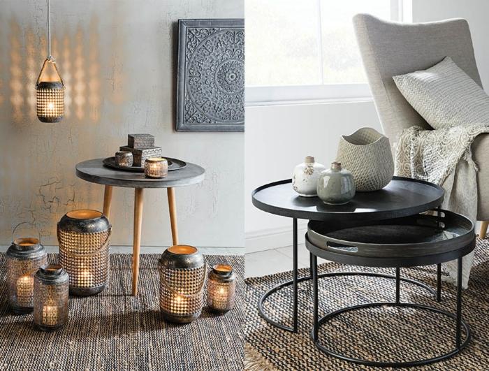 decoracion nordica salon, propuestas de muebles mdoernos, mesitas de cafe redondas, portavelas tipo linternas, jarrones decorativos