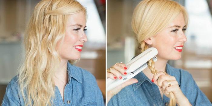 como hacer ondas en el pelo con trenzas y plancha, ideas faciles para hacer en casa, mujer con media melena rubia