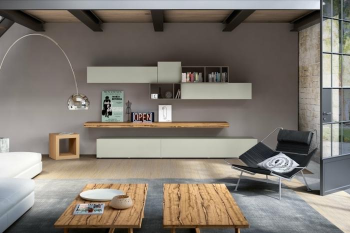 salon moderno, lineas limpias, habiatción gris, mesas de madera rustica, sillon moderno, tapete gris, suelo lamiando