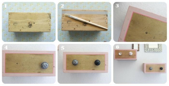 cajas de madera para decorar el hogar, bonita idea para amueblar la casa, estantería flotante hecha de caja de fruta