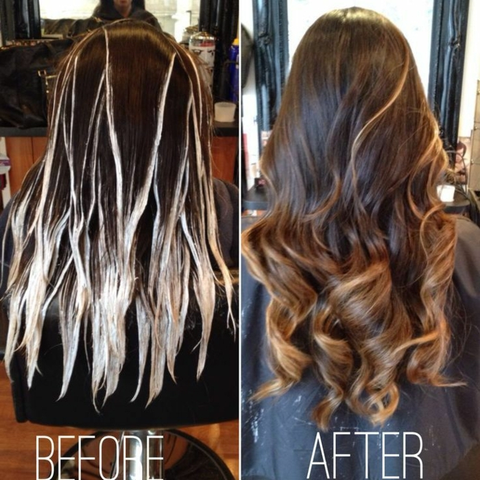 fotos de rayitos en cabello oscuro, pasos para hacer las mechas californianas perfectas, pelo largo en grandes rizos