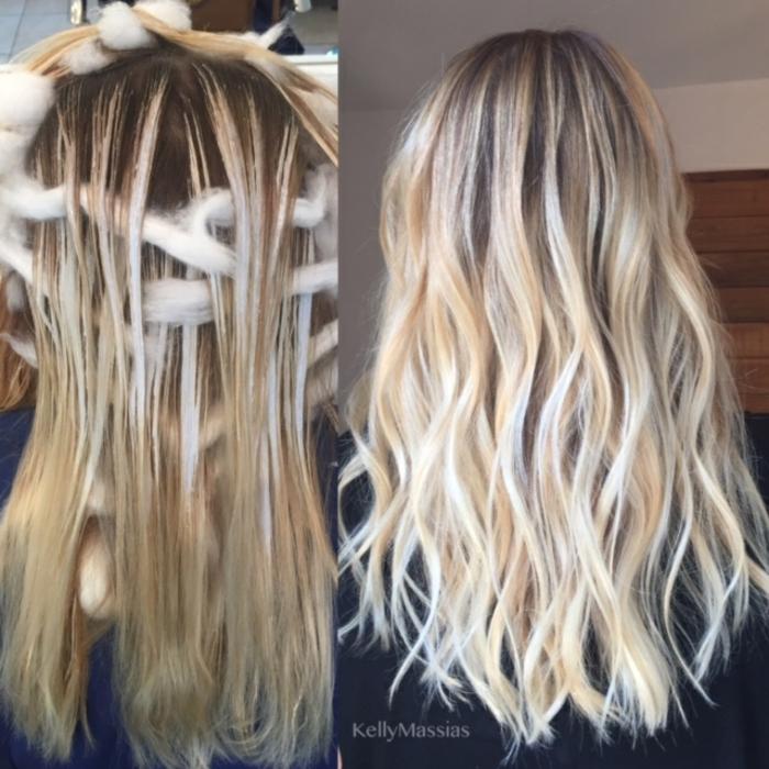 fotos de rayitos en cabello oscuro, diferetes técnicas para conseguir el balayage, pelo largo castaño con mechas rubias