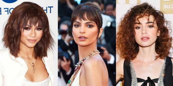 tres ideas de peinados con flequillo, mujeres famosas, media melena, pelo largo, flequillos modernos, cortes de pelo media melena