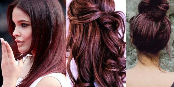 tres propuestas de pelo con balayage, cabello negro con mechas mas cobrizas, fotos de rayitos en cabello oscuro