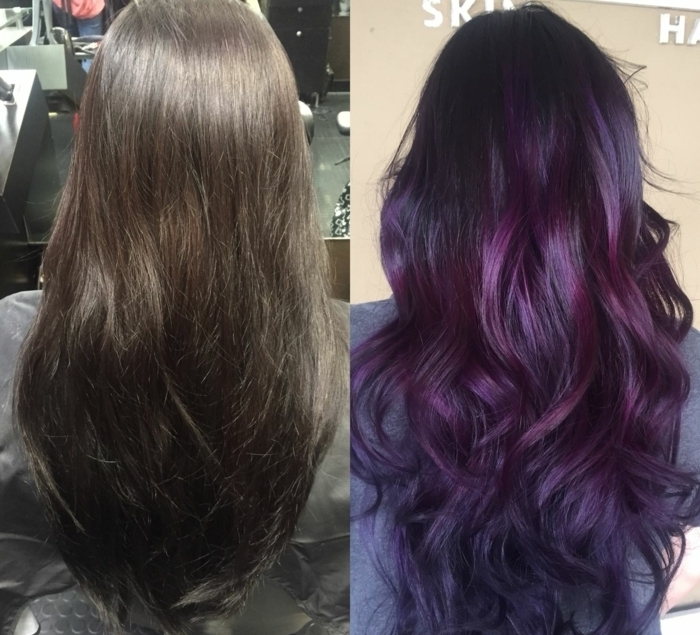 cabello con balayage antes y despues, pelo largo castaño liso, fotos de rayitos en cabello oscuro color violeta