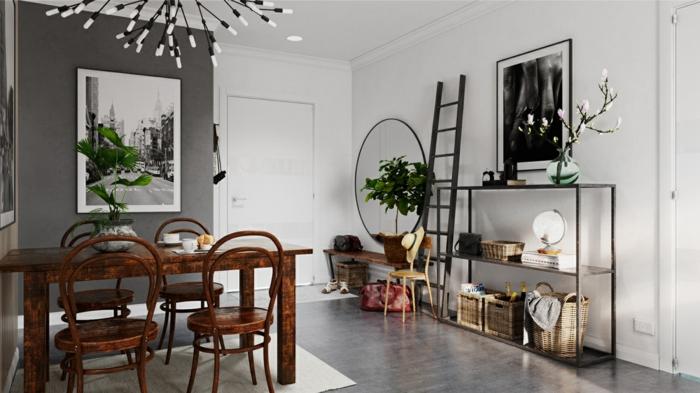 recibidor y comedor, combinación gris y blanco, espejo ovalado grande, suelo laminado, fotografia en blanco y negro, lámpara de araña