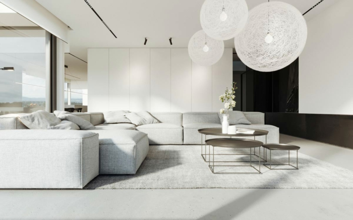 salones en blanco, salones de diseño decorados en estilo minimalista, lámparas de diseño original en forma oval