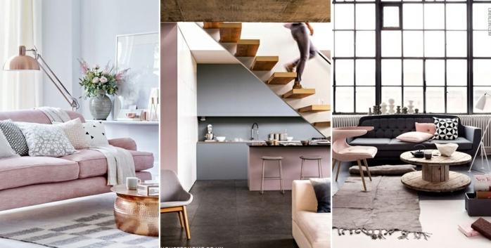 paredes grises, tres ideas de decoracion moderna en gris oscuro y rosado pastel, color cobrizo, amdera natural, mucha luz