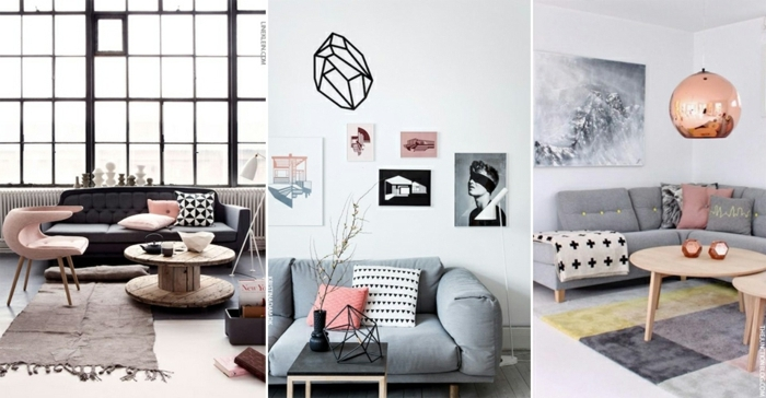 ejemplos de decoracion en colores neutros y colores pastel, salones modernos, habitacion gris y blanca