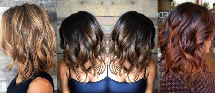 ejemplos de pelo cortado en bob con puntas californianas, media melena teñida en dos colores, tendencias cortes de pelo mujer 2018