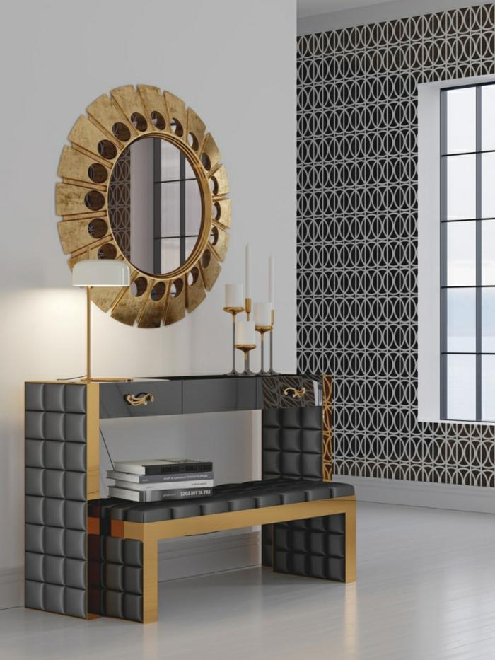 ideas magnificas con decoración con espejos de pared, espejo con marco dorado en forma oval, muebles en estilo moderno