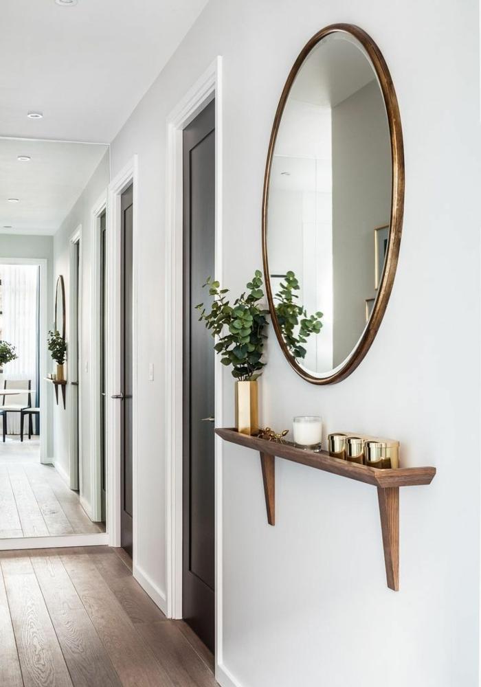como decorar un recibidor pequeño en estilo minimalista, entraditas modernas decoradas en blanco con grandes espejos