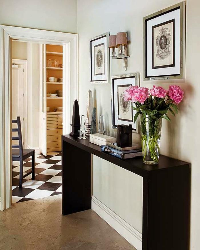 decoración con cuadros decorativos en estilo vintage, muebles de entrada modernos, muebles de diseño sencillo y decoración con flores