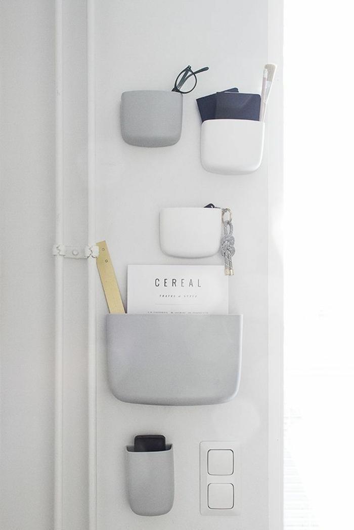 estanterías modernas para almacenar cosas pequeñas, muebles de entrada modernos y funcionales