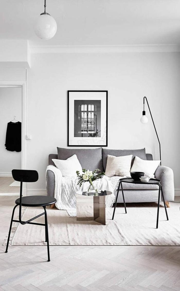 ideas sobre como decorar un salón en estilo minimalista, pequeño espacio en blanco, negro y gris