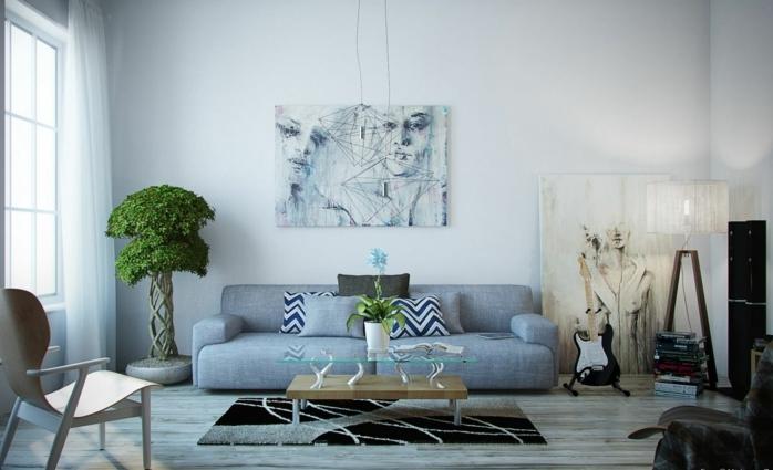 decoración en azul grisáceo, salón moderno. bonsai grande, sofá con cojines. mesa de madera y vidrio, colores para habitaciones, pinturas al oleo grandes