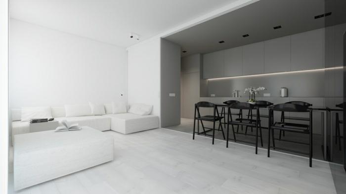 como decorar un salon comedor en blanco y gris, estilo minimalista con muy poca decoración, muebles de diseño moderno