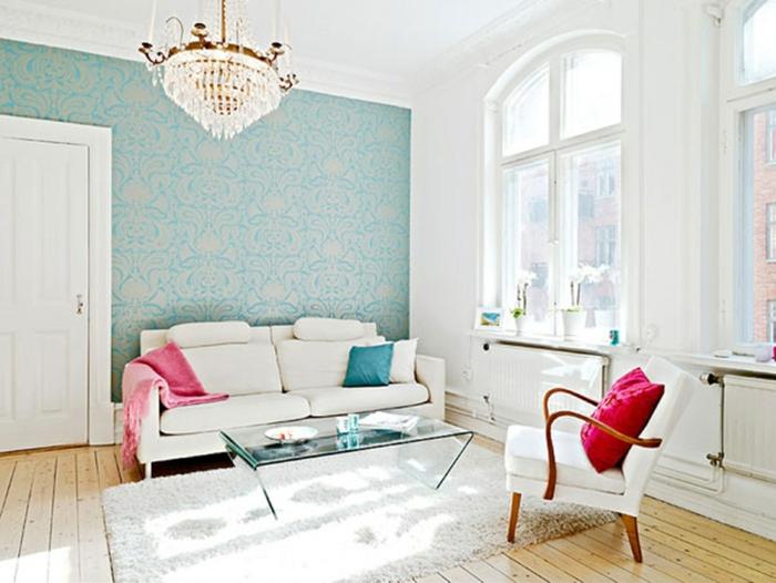 ejemplos de salones decorados en estilo minimalista con toque vintage, como decorar un salon en blanco y colores pasteles