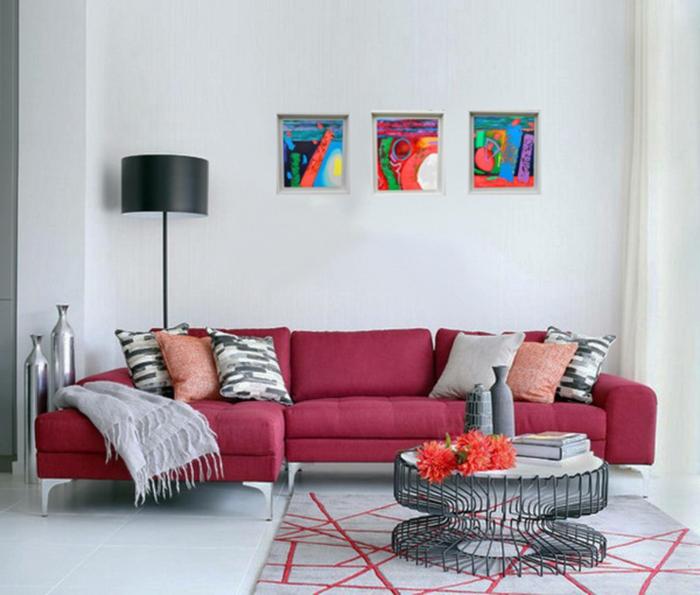 como decorar un salon en estilo minimalista, muebles en rojo y gris, cuadros decorativos multicolores