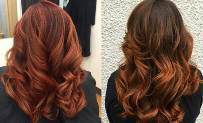 fotos de rayitos en cabello oscuro, preciosas propuestas en el gama rojo, melenas largas con rizos definidos y mechas en rojo y cobrizo