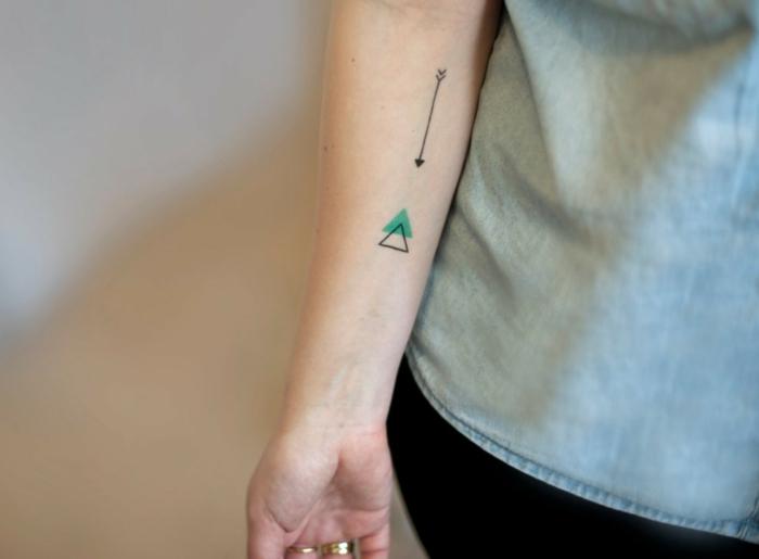 diseño geomñetrico con triángulos y flecha en negro y verde, tatuaje antebrazo mujer, tatuajes elegantes