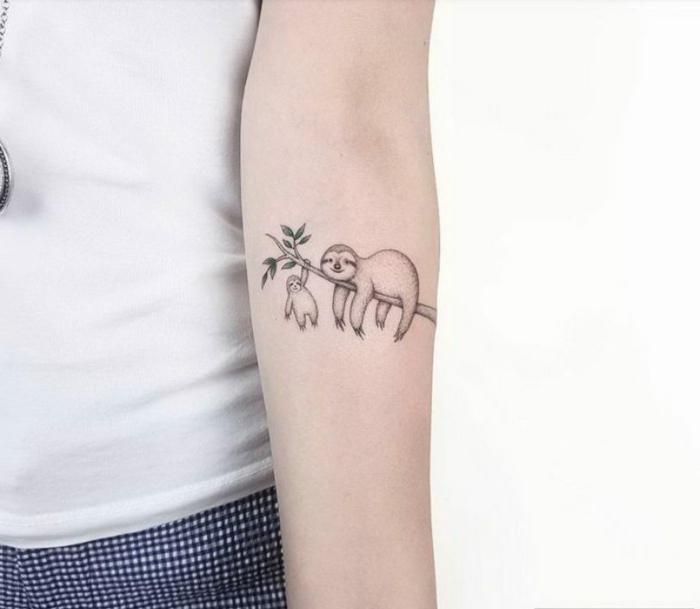 tatuajes pequeños con significado, idea de tatoo con animales, perezosos en rama de arbol, tatuaje entebrazo mujer