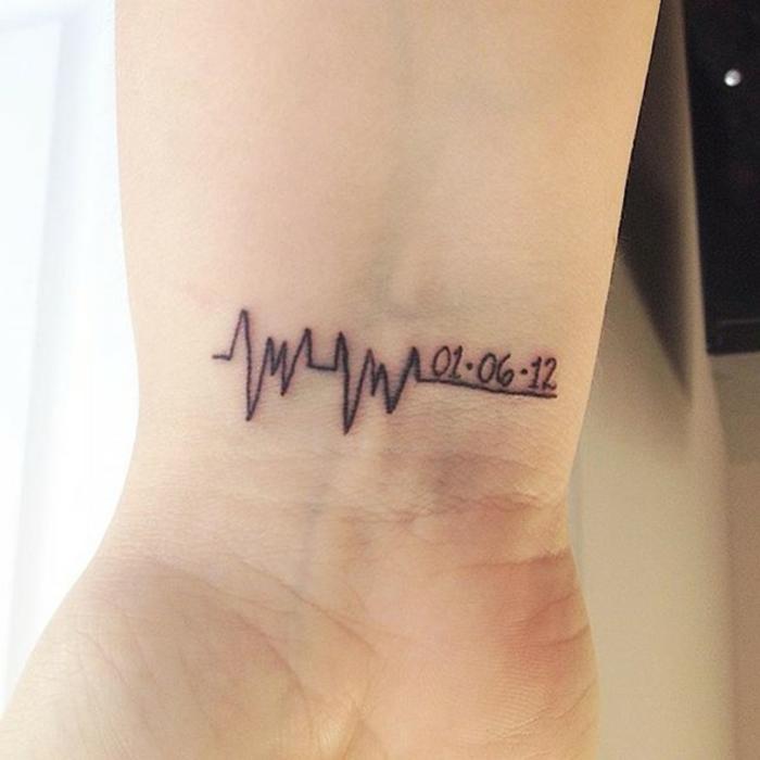 tatuaje con cardiograma y fecha, estilo minimalista, tatuaje de nombres en la muñeca, idea para hombres y mujeres