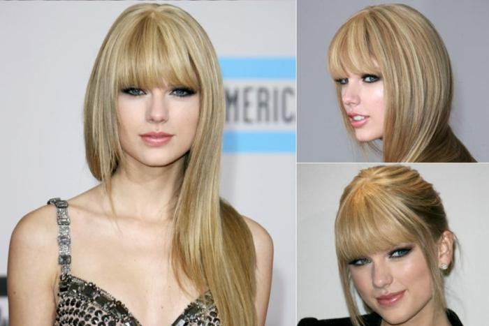 Taylor Swift, pelo largo lacio, corte a capas, cerquillo largo hasta las cejas, cortes de pelo con flequillo