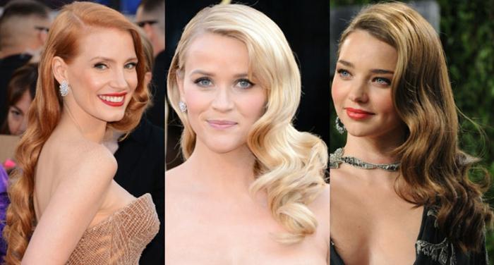 tres ejemplos de melenas con ondas vintage, ondas con plancha faciles de hacer, peinados de las celebridades tendencias 2018