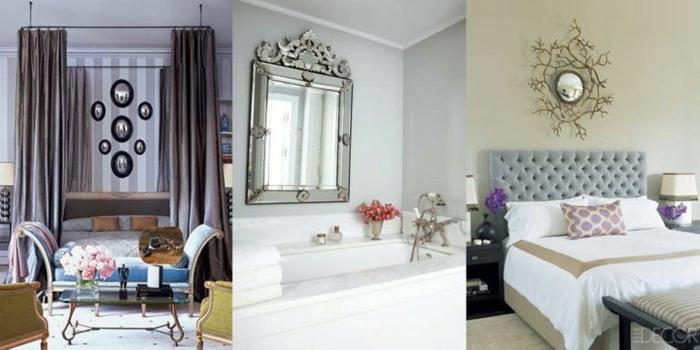 diferentes diseños de espejos decorativos, dormitorios y cuarto de baño decorado en estilo vintage, cabecero en capitoné color gris