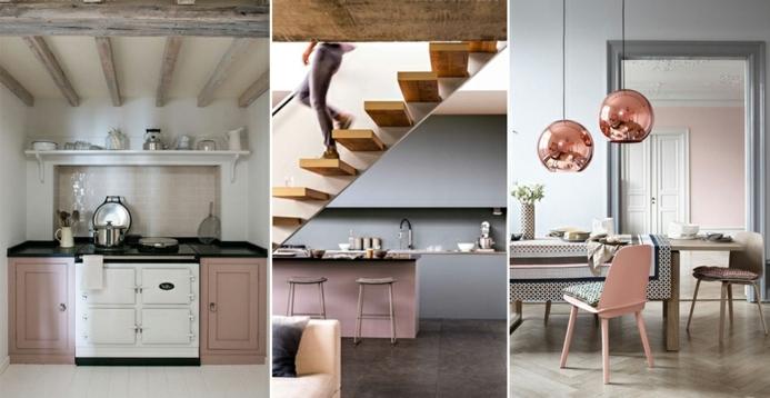 decoracion habitacion, cocina, esaleras y comedor modernos decorados en gris y rosado, ideas de interiores nordicos