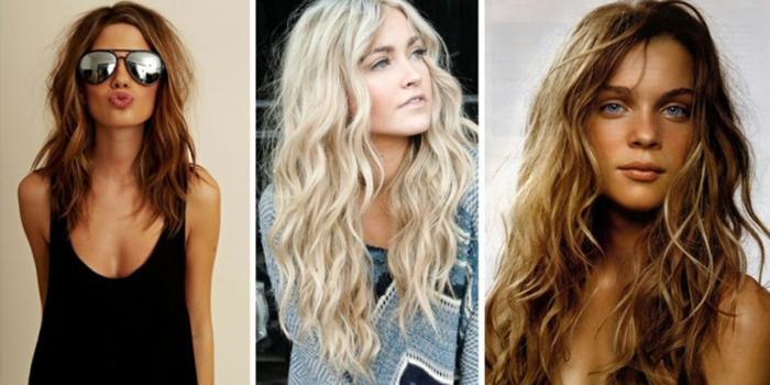 tres ejemplos de ondas en el pelo, rizos con efecto despeinado, como ondular tu melena de manera sencilla