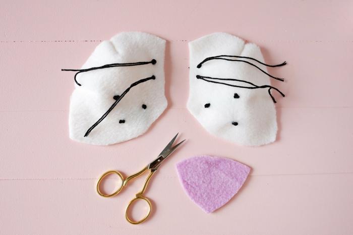 pasos para coser el hocico de un león decorativo, decoración original DIY para la pared, manualidades de fieltro para hacer en casa